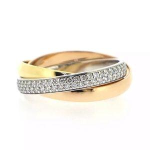 Cartier Trinity Diamond Paved 18KT Tri-Gold Ring